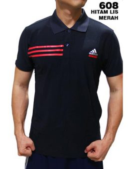 Polo Shirt Adidas 608 Hitam List Merah