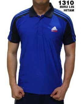 Polo Shirt Adidas 1310 Biru List Hitam