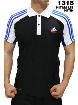 Polo Shirt Adidas 1318 Hitam List Putih