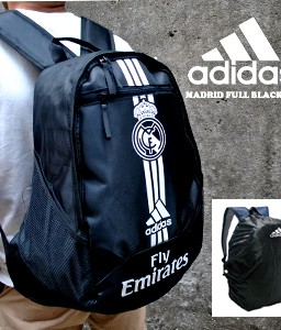TAS RANSEL BOLA REAL MADRID BLACK LINE + RAINCOVER