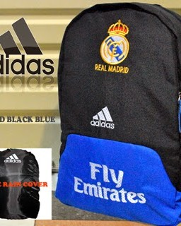 TAS RANSEL BOLA REAL MADRID HITAM BIRU BORDIR + RAINCOVER