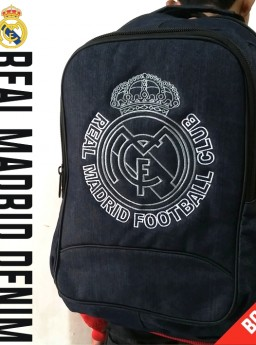 TAS RANSEL BOLA REAL MADRID DENIM + RAINCOVER