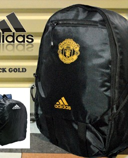 TAS RANSEL BOLA MANCHESTER UNITED BLACK GOLD + RAINCOVER