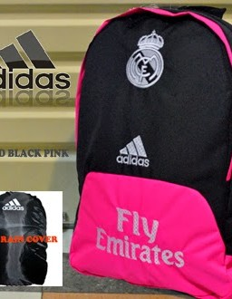 TAS RANSEL BOLA REAL MADRID HITAM PINK BORDIR + RAINCOVER