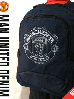 TAS RANSEL BOLA MANCHESTER UNITED DENIM + RAINCOVER