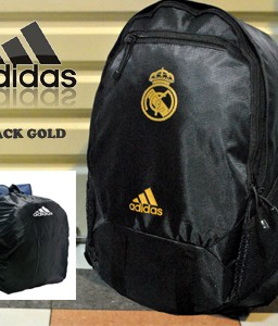 TAS RANSEL BOLA REAL MADRID BLACK GOLD + RAINCOVER