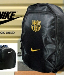 TAS RANSEL BOLA BARCELONA BLACK GOLD + RAINCOVER